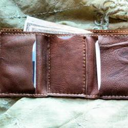 Men's Trifold Wallet, Handmade in Chocolate Brown or Midnight Black